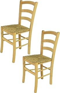 Tommychairs - Set 2 sillas Venice para Cocina y Comedor, Estructura en Madera de Haya Color Natural y Asiento en Paja