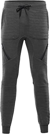 Youstar Ribbed Jogger Pants With Zipper Detailing Charcoal Size XL