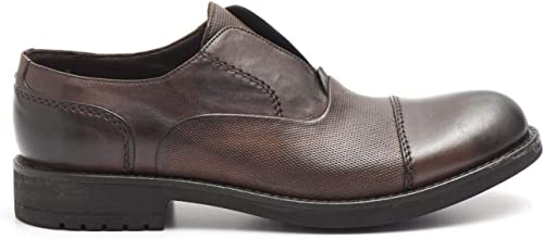 JP DAVID - Hand Waxed Oxford zapatos in microperforated marrón Leather - 34804 130negro