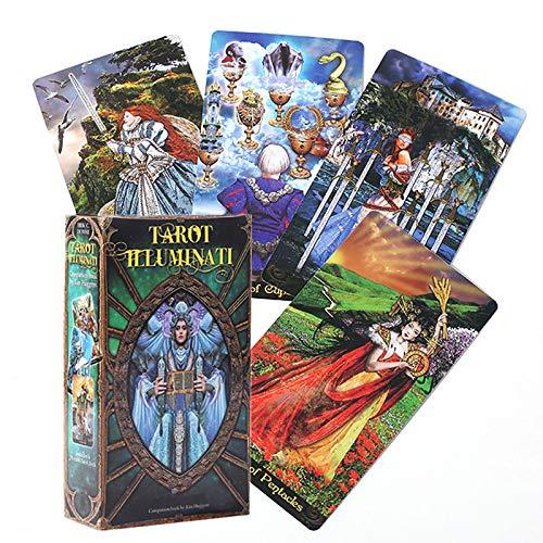 78 Stück Tarotkarten, Tarot Illuminati Kit Karten, englische Version, interessantes Wahrsagungskartenspiel