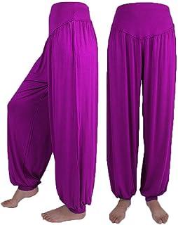 riou Pantalones de Yoga Sueltos Mujer algodón suave y elástico Pantalones deportivos de danza Color sólido Harem Boho Hipp...
