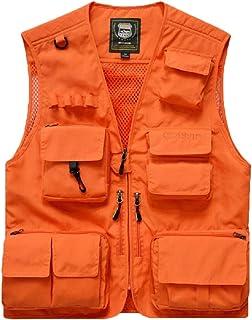 WSPLYSPJY Men's Cargo Vest Active Outdoor Pockets Fishing Safari Travel Vests Jacket