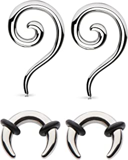 Zaya Body Jewelry 2 Pairs Steel Ear Plugs Tapers Hangers Pinchers Horseshoes Gauges 4g 6g 8g 10g 12g