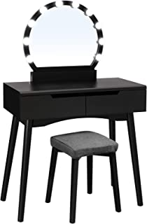 VASAGLE Vanity Set with 10 Light Bulbs and Touch Switch, Dressing Makeup Table Desk with Large Round Mirror, 2 Sliding Drawers, 1 Cushioned Stool for Bedroom, Bathroom, Black
