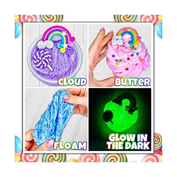 Laevo Unicorn Slime Kit for Girls - Slime DIY Supplies Slime Kits - Slime Making Kit Cloud Slime Kit for Boys - DIY Slime Kit with Instant Snow, Clear Glue, Foam Balls, Slime Glue 5
