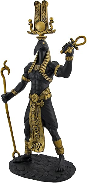 Black Thoth Egyptian God Golden Accents Statue