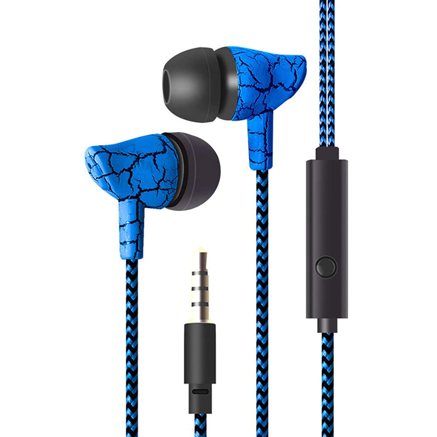 Wulidasheng Wired in-Ear Earphones,Fashion Cracked Print Universal Braided Wire Volume Control in-Ear Earphones Blue rrdspdvselo826