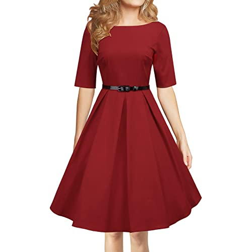 LUOUSE  Audrey Hepburn 1950s Vintage Rockabilly Dress