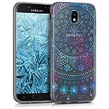 kwmobile Samsung Galaxy J7 (2017) DUOS Hülle - Handyhülle für Samsung Galaxy J7 (2017) DUOS - Handy Case in Arktische Schneeflocke Design Blau Pink Transparent