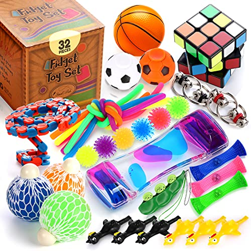 Sensory Toys Set 32 Pcs., Fidget Toy Bundle for Stress Relief, Anti-Anxiety, Relaxing, and Calming...