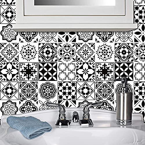Pegatinas de azulejos marroquíes en blanco y negro, impermeables y antiaceite, para decoración de la pared, para cocina, dormitorio, sala de estar, baño (20 x 20 cm)