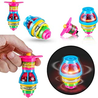 PROLOSO 15-Pack LED Light Up Flashing UFO Spinning Tops with Gyroscope Novelty Bulk Toys Party Favors