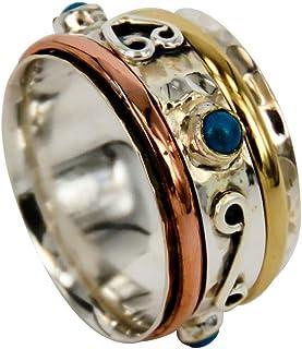 Sterlingsilber Spinner Ring - Energy Stone drehbarer meditations Ring - Anti Stress Ring - Drehringen - Angstring - Spinne...