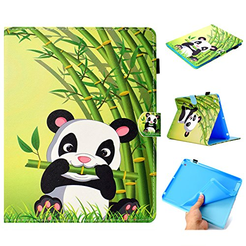 HereMore Funda para Apple iPad 2/ iPad 3/ 4ª Generación, Folio Case Carcasa Cubierta de Protectora con Lápiz Titular, Ranura para Tarjetas y Función Auto-Sueño/Estela, Panda