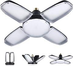 AC220V مصباح جراج قابل للتغيير، مصابيح ليد بأربعة أوراق مروحة لمبة السقف E27/E26، قاعدة إضاءة زاوية قابلة للتعديل 6500 كلف...