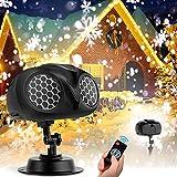 Luces de Proyector de Navidad, NACATIN Proyector de copo de nieve Binocular IP65 a prueba de agua Con mando a distancia Para exterior/interior/fiesta/Navidad/Halloween/jardín/bar/boda