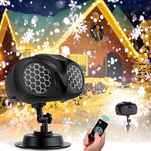 LED Schneeflocken Projektor, NACATIN Schneeflocken-Projektor Fernglas Wasserdicht IP65 mit Fernbedienung Für Outdoor/Indoor/Party/Weihnachten/Halloween/Abendparty/Garten/Bar/Hochzeit