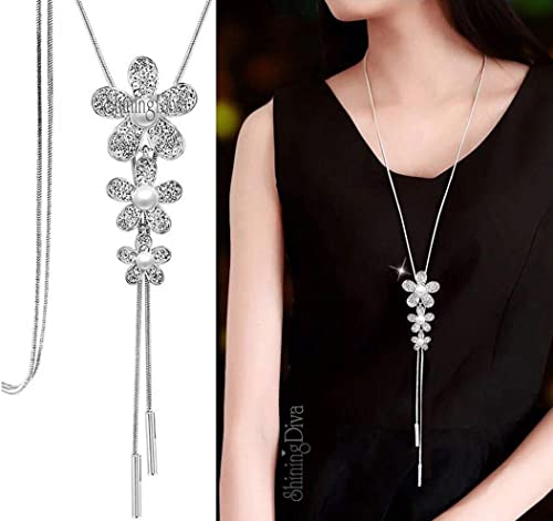 Shining Diva Fashion 11 Latest Designs Crystal Flower Stylish Long Chain Pendant Party Wear Necklace for Women and Girls product image