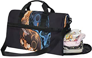 Travel Tote Luggage Weekender Duffle Bag, Stylish Yin And Yang Gossip Large Canvas shoulder bag with Shoe Compartment