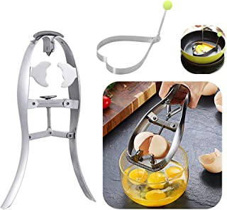 Quick Egg Opener - Scissor Cracker Stainless Steel Eggshell Cutter Egg Separator with Fried Egg Mold Creative Kitchen Gadgets Cooking Tools