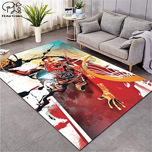 Teppich Anti-Rutsch-Flauschiger tepiche für Wohnzimmer Pflegeleicht Moderner Carpet Wohnzimmer Kinderzimmer Schlafzimmer Zuhause Dekoration/NBA Basketball Gesamtgröße: (B-140 cm x L-200 cm)