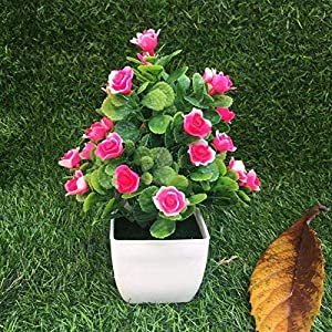 ZHXDXF Artificial Potted Hibiscus Flower Fake Rose Flower Bonsai Holiday Home Decoration for Home and Office Decoration