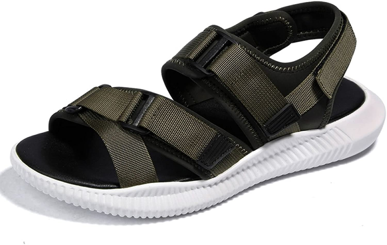 LQV Men's Sandals for Summer Casual Peep-Toe Beach shoes Korean Trend Youth Punch Velcro shoes