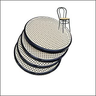 4 Asientos Redondos Negro de Plástico de Repuesto para Sillas de Cocina Thonet. Silla de Cocina Bistró de Metal. Paja de V...