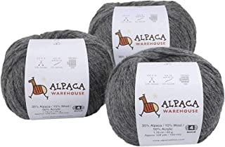 Blend Alpaca Yarn Wool Set of 3 Skeins Worsted Weight - Heavenly Soft and Perfect for Knitting and Crocheting (Gray, Worsted)