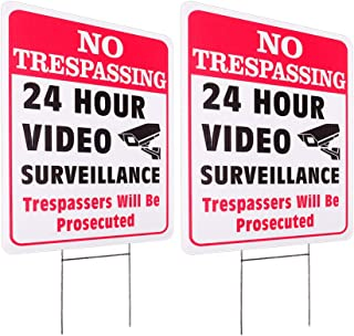 WaaHome 2 Pack No Trespassing Sign with Metal Wire H-Stakes, 10''X14'' Outdoor Video Surveillance Signs