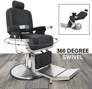 All Purpose Heavy Duty Hydraulic Reclining Barber Chair 360° Swivel Metal Vintage Salon Spa Beauty Chairs Styling Equipment Black