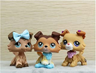 LPSOLD LPS Collie Lot 2452 893 58 Sage Paw Up Tan Brown Different Blue Eyes Dog Puppy with Accessories Bow Wings Collar Bones Lot Collection Kids Boy Girl Gift Set