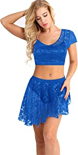 e6ce3abb2dc iiniim 2 Pieces Women Adult Lace Overlay Contemporary Lyrical Belly Dance  Outfits Costumes