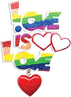 """Personalized Gay Pride """"Love is Love"""" Christmas Tree Ornament 2019 - Rainbow Color Glitter Word Red Heart Dangle Same Sex Marriage 1st Proud LGBTQ Gender Neutral Gift Year - Free Customization"""