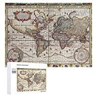 INOV ヴィンテージアンティーク旧世界地図デザインフェード ジグソーパズル 木製パズル 500ピース キッズ 学習 認知 玩具 大人 ブレインティー 知育 puzzle (38 x 52 cm)