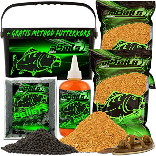 Angel-Berger Magic Baits Method Feeder Futterset Groundbait Liquid Pellets Futterkorb Futtermittel (Honey Bomb)