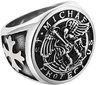 St Michael Ring Jihad Angel The Archangel Catholic Medal Titanium Steel Signet Size 7-13
