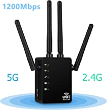 1200Mbps WiFi Extender, Aigital Wireless Internet Booster Dual Band (5G+2.4G) Wi-Fi Repeater Signal Amplifier Full Network Coverage with Long Range High Gain Antennas & WPS Function - Black