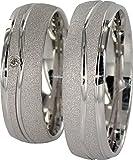 JC Trauringe 925er Sterling Silber Paar-Preis I Ehe-Ringe mit kostenfreier Gravur I...