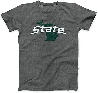Nudge Printing Michigan State University on State of Michigan MSU Spartans T-Shirt Unisex Sizing - Charcoal Grey