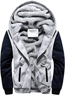 Men's Winter Thicken Fleece Jacket Baseball Hooded Full Zip Sweatshirt Jackets Varsity Jackets with Pockets
