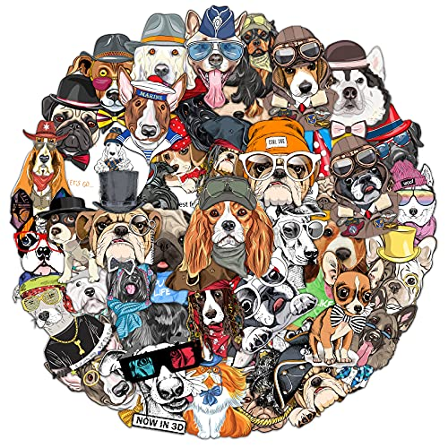 50 Pcs Cute Cool Hand-Drawn Pet Dog Theme Stickers, Not Random No Duplicated Waterproof Stickers for Guitar, Water Bottle, Laptop, Luggage, Skateboard Durable Decals, Aesthetic Sticker for Teens, Girl