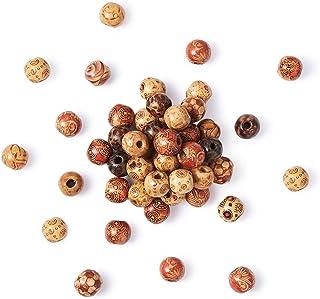 200 Pièces Perles Rondes en Bois Imprimées avec Trous pour DIY Artisanat Motifs Assortis Perles en Bois Naturel pour Fabri...