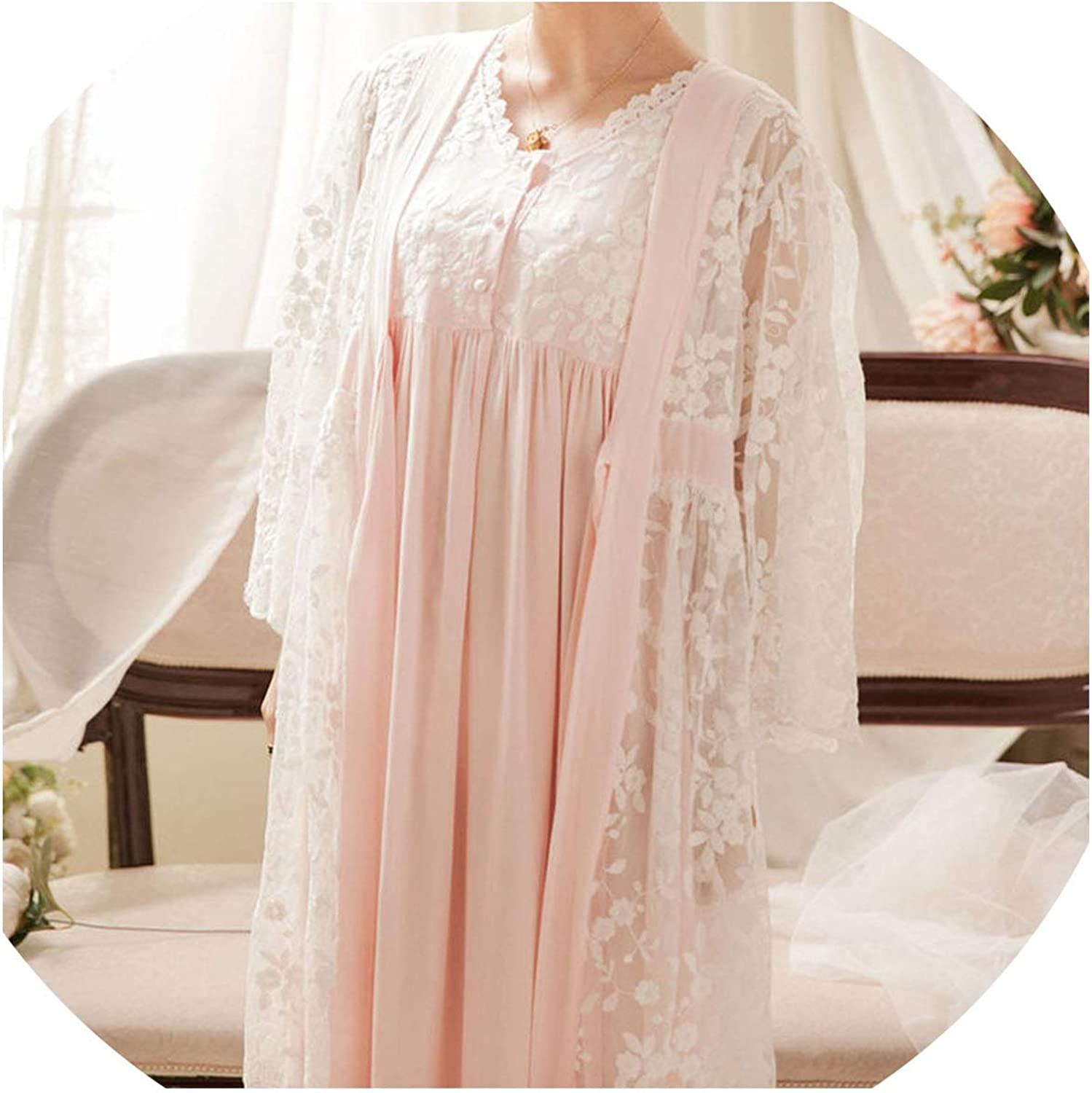 2019 Robe Gowns Set 2 Piece Sleepwear Vintage Robe Lace Nightgown Set for Ladies Embroidery Sleepwear