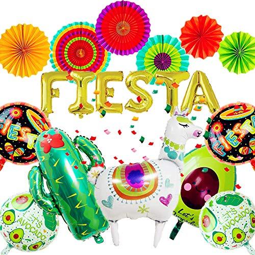 JeVenis Set von 14 Lama Luftballons Mexikanische Party Dekoration Fiesta Party Dekoration Fiesta Luftballons Kaktus Luftballons Fiesta Party Supplies Hochzeit Geburtstag Baby Shower