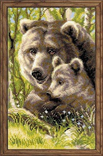 Riolis 10 de ropa de cama cachorro de oso de peluche con juego de punto de cruz, 8,75 de 38,1 cm por Riolis