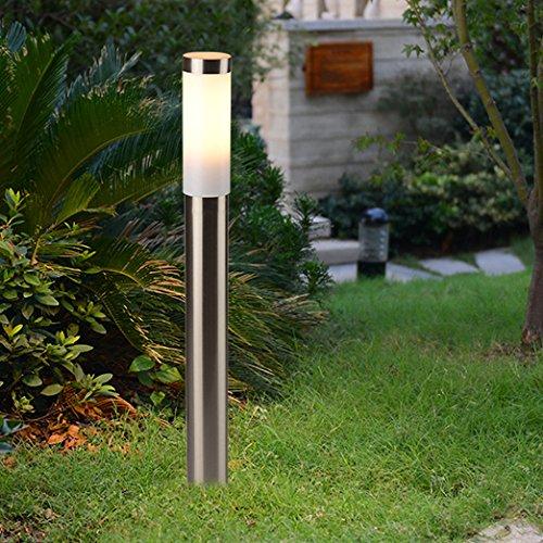 Wegverlichting zilver roestvrij staal 80cm hoog Ø6cm E27 IP44 LED geschikte verlichting tuin tuinpad lamp [energieklasse A ++]