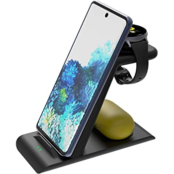 Elobeth Qi Wireless Charger Station Compatible with Samsung Wireless Charging Stand Galaxy Watch 3 41mm/45mm/42mm/46mm/Active 2/1 Gear S3 S20/S10/S10e/Note 20 Ultra 10/9/8/Z Flip Buds Live No Plug