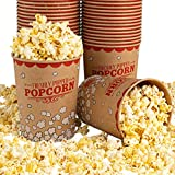 Stock Your Home 32 Oz Kraft Popcorn Buckets (25 Count) - Greaseproof Vintage Style Popcorn Cups - Disposable Popcorn Containers for Movie Theaters, Amusement Parks, Concession Stands & Themed Parties