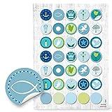 '70redondas Azul 'comunión Bautizo Niño 3cm de diámetro; Pegatinas para Decorar y embellecer de regalos Tarjetas libros uvm. Calidad 1a